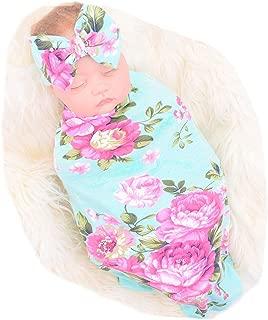 Newborn Receiving Blanket Headband Set Flower Print Baby...