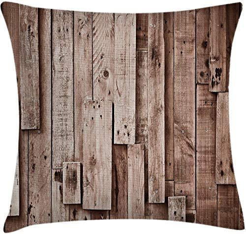 BONRI Wooden Throw Pillow Cushion Cover, Vintage Barn Shed Floor Wall Planks Sepia Art Old Natural Plywood Lodge Image Print, Decorative Square Accent Pillow Case, Grey Brown,(16'x16' / 40x40cm