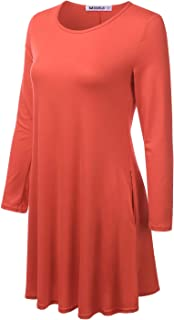 Womens Long Sleeve Loose Fit Tunic Dress with Pockets and Plus Size