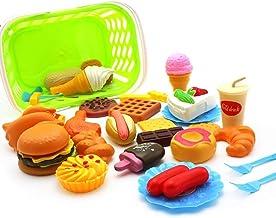 Sungpunet Playset plástico Mini Hamburgo Comida rápida Papas Fritas Perro Caliente Helado de Juguete Alimentos para niños de Kinder