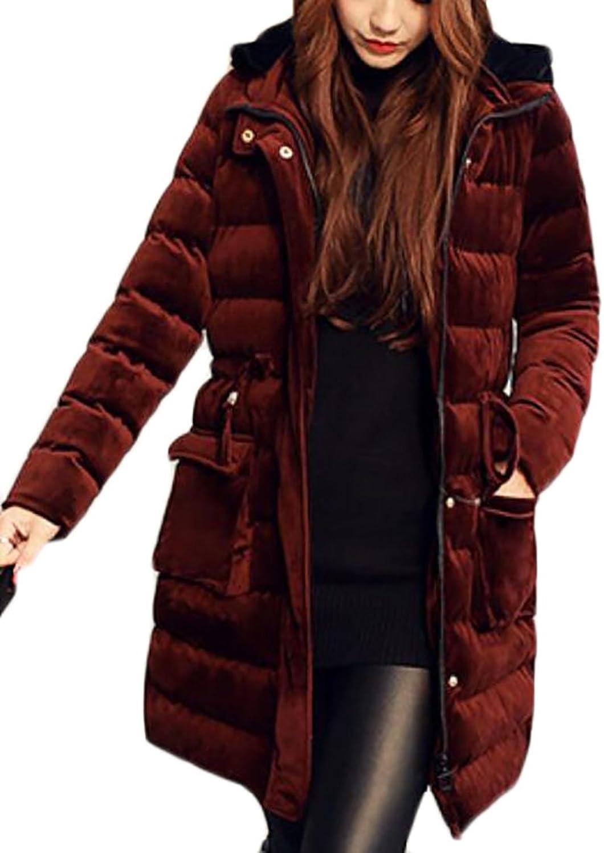 GAGA Women's Basic Long Sleeve Slim Fit Velvet Thick Warm Down Jacket Hooded Puffer Jacket