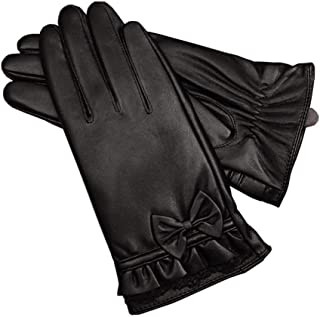 Ladies Leather Gloves Soft Warm Velvety Lining Winter Gloves Womens Touch Screen Mittens with One Bow Decoration (Black)