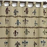 Sibiles - Cortina con Presillas Rústica Diseños Alpujarra, Cazador, Flor de LYS y Campo de 140x250 cm. (Flor de LYS)