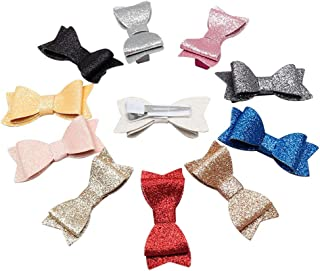 Oaoleer Glitter Leather Hair Bows with Alligator Clips for Baby Girls Kids Toddlers Pack of 11