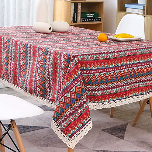 Living Room Accessories Mediterranean boho ethnic cotton linen lace tablecloth-140 * 160cm For Kitchen Dining Table Tablecloth Cover Tablecloths