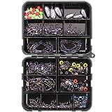 Leeko Juego de accesorios de pesca, 160 unidades/caja, kit de pesca, incluye anzuelos circulares, anzuelos triples, pesos de pesca, remolinos de bolas, placas, anillos divididos