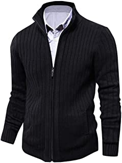Mens Knitted Cardigan Full Front Zipper/Button Sweater with 2 Side Pockets