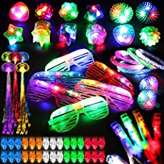 78 pack party favor neon bulk toys includes 50 Finger Lights, 12 Jelly Rings, 6 Flashing Glasses, 5 Bracelet, 5 Fiber Optic Hair Clips. Come with a beautiful box makes them perfect for gift! 12 Design Flashing Jelly Rings with 6 colors, include straw...