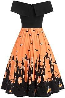Vestido Largo de Fiesta con Estampado de Calabaza y murciélago de un Hombro de Halloween Vintage para Mujer Vestido Largo