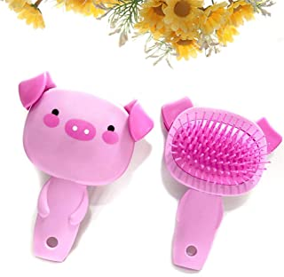 Hamkaw Pig Air Cushion Comb Cartoon Cute Massage Comb Rubber Hairbrush Salon Styling Tool with Easy Comfort Grip (Pink)