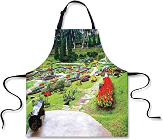 """iPrint Cooking Apron,Country Decor,Bromeliad at Mae Fah Luang Garden Lawn Flowerbeds Evergreens Wooden Seat,3D Print Apron.29.5""""x26.3"""""""