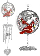 BANBERRY DESIGNS Memorial Windchime - When Cardinals Appear Angels are Near - Red Cardinal - Wind Chime with a Remembrance Saying - Windchimes for Funeral