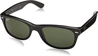 Ray-Ban RB2132 New Wayfarer Sunglasses, Black/Polarized Green, 55 mm