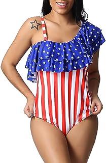 4f92623ecae Ganenn 4th of July Women's Plus Size American Flag One Piece Off-Shoulder  Bikini Swimwear