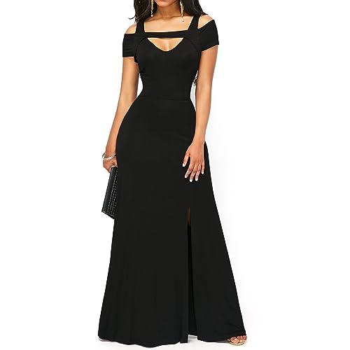 ec23430d352 KISSMODA Womens V Neck Cold Shoulder Maxi Casual Dress