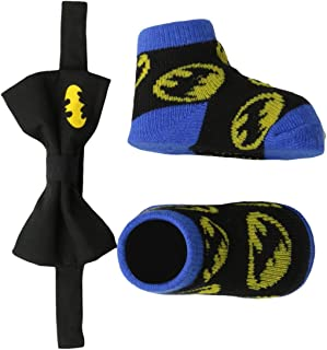 DC Comics baby-boys Superhero Bowtie & Sock Set