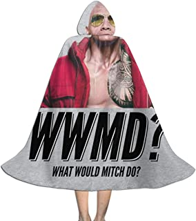 Baywatch What Would Mitch Do Dwayne The Rock Johnson Unisex Kids Hooded Cloak Cape Halloween Xmas Party Decoration Role Cosplay Costumes Black