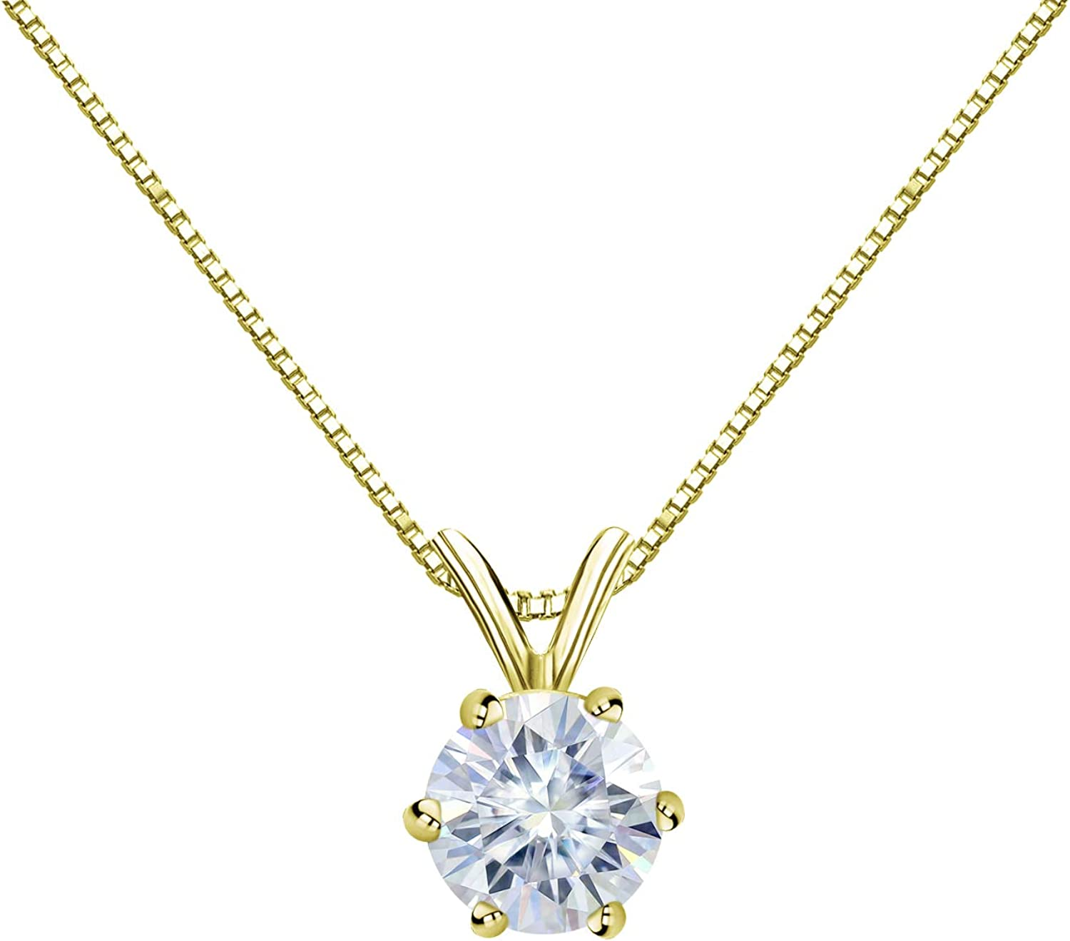 14K Gold Round 6-Prong Solitaire Gifts Ranking TOP5 Pendant 1 Necklace Moissanite