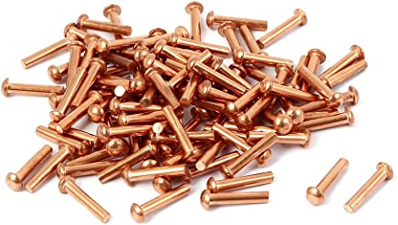 Uxcell a16041400ux0880 Copper Solid Rivet 9Mm Length 2Mm x 8Mm Round Head Copper Solid Rivets Fasteners Gold Tone 100 Pcs