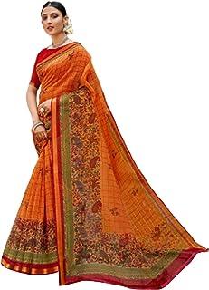 أورانج هندي للنساء القطن الوفير التقليدي ساري مع قطعة بلوزة من كاساوا ملابس احتفالية رسمية 6050