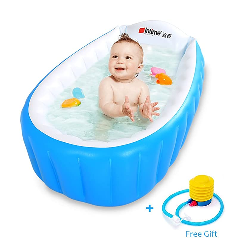 Baby Inflatable Bathtub Intime Children Anti-slippery Swimming Pool Foldable Travel Air Shower Basin Seat Baths Big Size(For 0-3 Years) With Air Pump (Packaging May Vary)