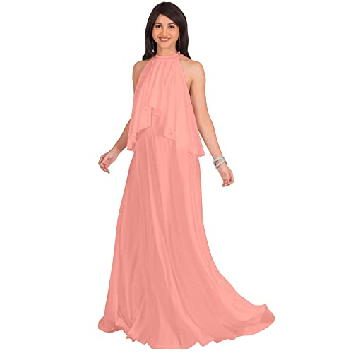 9afd5ac5e3e KOH KOH Womens Long Sleeveless Halter Layered Flowy Cocktail Summer Maxi  Dress