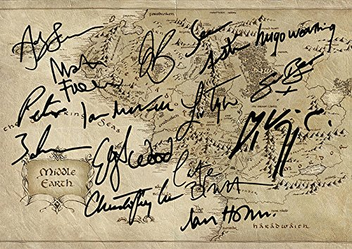 The Hobbit Lord of The Rings Middle Earth Map Movie Print - Cast Andy Serkis, Peter Jackson, Martin Freeman, Orlando Bloom, Sean Astin, Hugo Weaving, Sean Bean, Liv Tyler.and More (11.7' X 8.3')