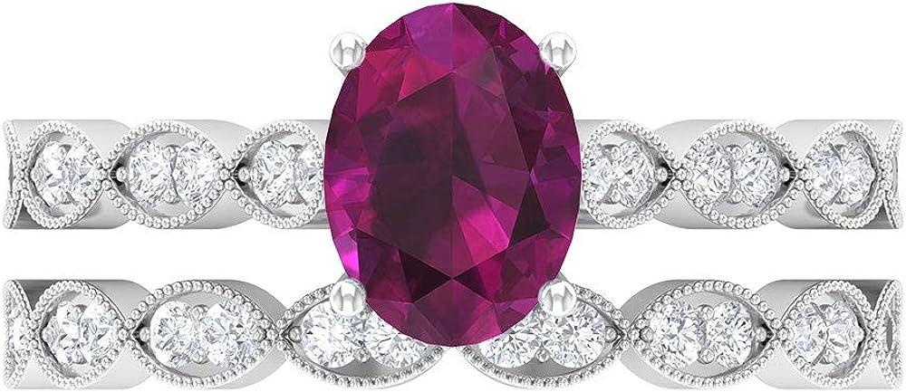 Be super welcome June Birthstone - 8X6 MM It is very popular Oval Ring Rhodolite Cut Diamond HI-SI
