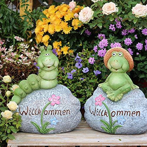 Garden animal ornaments Simulation Statue Animal Sculpture Simulation Decoration Resin Little Hat Frog Garden Decoration Outdoor Animal Sculptures Pastoral Ornament-Insect