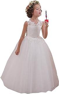 dff211f592693 KekeHouse® Appliques Robe Longue de Cérémonie Fille Enfant Mariage Sans  manches Arc