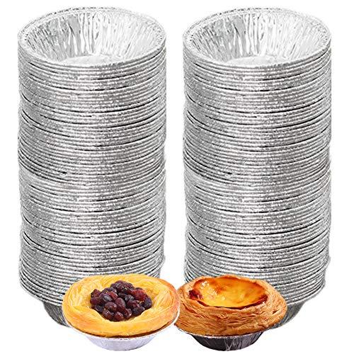 Molde desechable de aluminio para tarta, molde para tarta de huevos (200 unidades) bandeja para hornear mini moldes para magdalenas, moldes para hornear pasteles y galletas para...