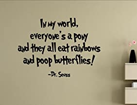Vinyl Quote Me in My World, Everyone's a Pony and They All eat Rainbows and Poop Butterflies. Vinyl Wall Saying Quote Words Decal