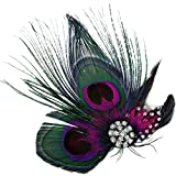 AshopZ Sweet Cosplay Costume Peacock Feather Hair Clip w/Rhinestones Natural1