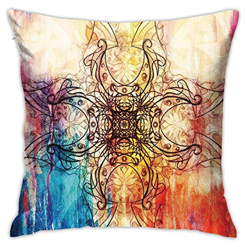 AOOEDM Boceto de Mandala Original Adornado sobre Colorido Collage Digital Sucio, diseño místico, Fundas de Almohada Decorativas, Funda de Almohada de diseño Moderno para Cama o sofá, 18 x 18 Pulgadas