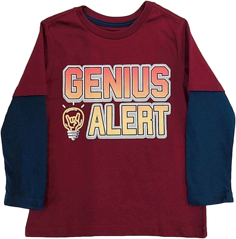 Boys Burgundy Genius Alert Long Sleeve Tee Shirt Rock On Light Bulb T-Shirt