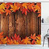 Gjid Cortina de Ducha de otoño Hojas secas Pou en cabaña de Madera Cabaña Cabaña Rústica Vida de Campo Tema Estampado de Tela Tela Baño Decoración Set con Ganchos