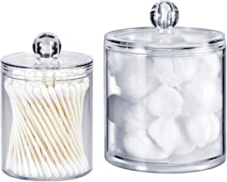 Qtip Dispenser Holder Bathroom Vanity Organizer Apothecary Jars Canister Set for Cotton Ball,Cotton Swab,Q-tips,Cotton Rounds,Bath Salts,Premium Quality Plastic Acrylic Clear | 2 Pack,10 Oz. & 20 Oz.