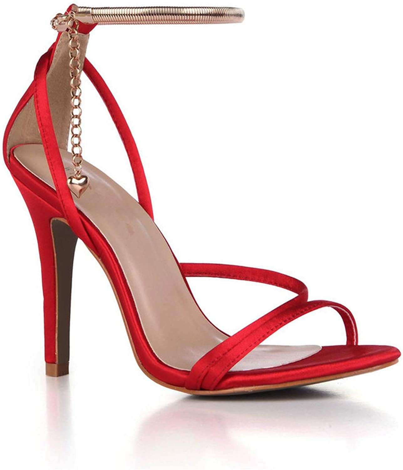 Summer Narrow Strap Buckle Sandals 10 cm Thin Heels Evening shoes Woman Ankle Strap Party Pumps