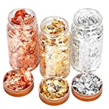 Gold Foil Flakes for Resin,3 Bottles Metallic Foil Flakes, Imitation Gold Foil Flakes Metallic Leaf for Nails, Painting Arts, Crafts,Slime and Resin Jewelry Making,DIYs,Furniture Decoration