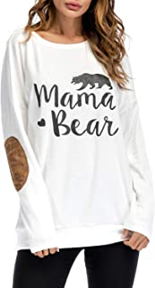 Womens Long Sleeve Sweatshirts,Mama Bear Elbow Patch Crew Neck Loose Tunic Blouse Tops T-Shirts