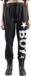 BOY LONDON 纯棉星图案中性长裤 黑色/白色