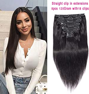 "Brazilian Virgin Hair Straight Clip in Hair Extensions Straight Hair Clip Ins 8A Thick Soft Remy Hair for Black Women Natural Black Color Double Weft 8 Pieces 120g(18"")"