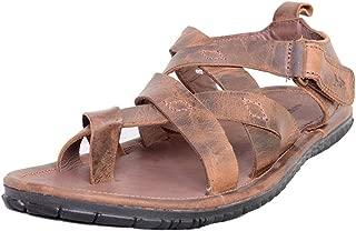 Mardi Gras Men's Cognac Leather Outdoor Sandals