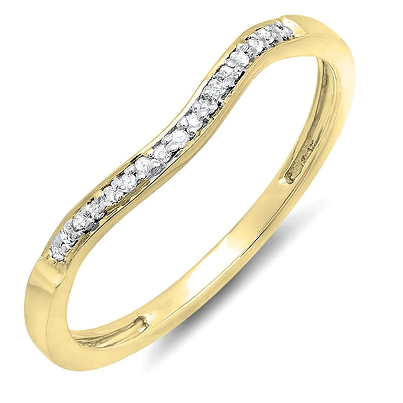 0.10 Carat (ctw) 10K Gold Round Diamond Ladies Anniversary Wedding Band Guard Ring 1/10 CT