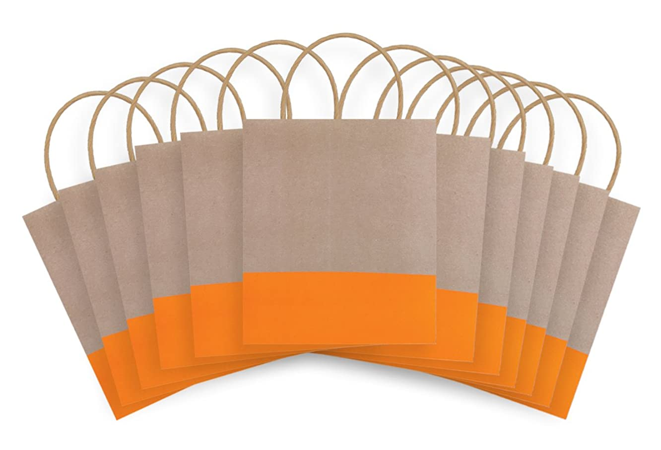The Gift Wrap Company AMZ112-67 Dipped Recycled Kraft Paper Gift Bags, 12-Count, Sunkiss