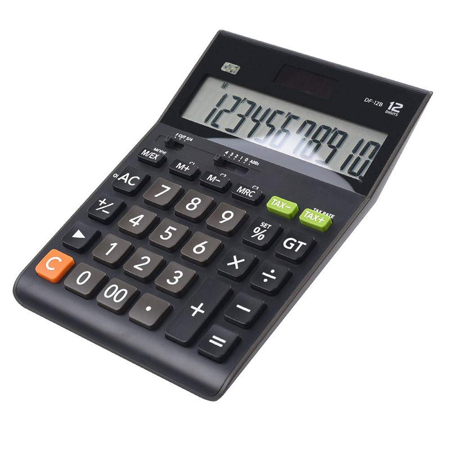 サロン隔離愚かな電子式電卓 デュアルパワー計算機ソーラーオフィス金融税利益率大画面12ビットコンピュータ コンパクトポータブル