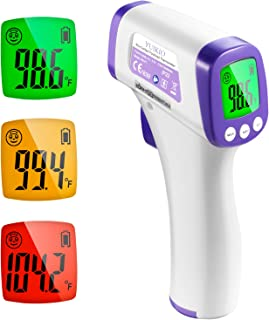 Infrared Forehead Thermometer for Adults, Non Contact Touchless Digital Temporal Thermometers for Baby Kids with Fever Alarm, LCD Screen and Temperature Data Memory (NO Battery Included)