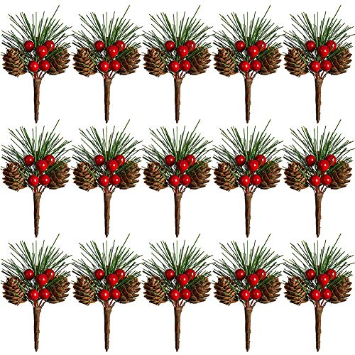 TOUTN Christmas Tree Decoration Pine Cone Red Berry Picks 3 Inch Stems Artificial Holly Branches for Xmas Crafts Party Home Decor (15 Pack)