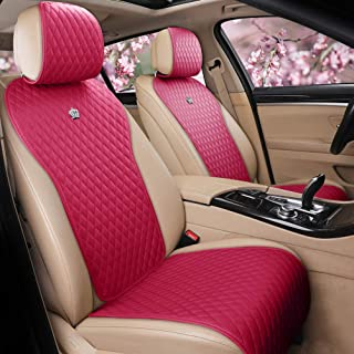 Red Rain Rose Pink Car Seat Cover Leather Auto Seat Cushion Covers 2/3 Covered Cute Car Seat Protector 11PCS Universal Fit Car/Auto/Truck/SUV (A-Rose pink)