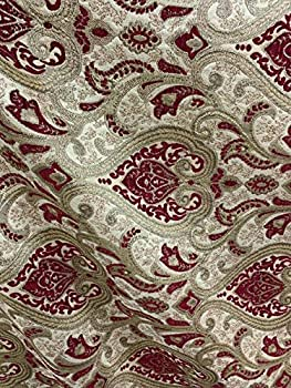 Burgundy Gold Damask Chenille Upholstery Brocade Fabric  54 in  Sold by The Yard